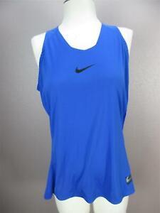 Nike Size L Womens Blue Athletic Dri-Fit Sportswear Gym Sleeveless Top 481