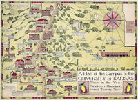 1926 Pictorial Map Campus Plan of the University of Kansas Historic Poster Print