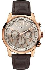 New Guess Mens Watch Horizon Rose Gold Brown Croc Leather Chrono U0380G4 W0380G4