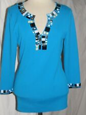 JUST B Pullover 3/4 Sleeve SMALL turquoise Blue thick stretch  Beaded Top