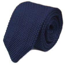 New Luxury Mens Plain Dark Blue Woven Tie Necktie Solid Knitted Fashion