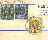 MS303 1925 FIJI KGV Registered Postal Stationery Envelope Note 2s/6d Usage Cover