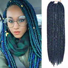"18"" Green Havana Mambo Faux Locs Braids Crochet Dreadlock Braids Hair Extension"