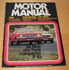 1971 September Motor Manual Cortina,Valiant Hemi,Torana 1600,Mini,HQ Holden 350