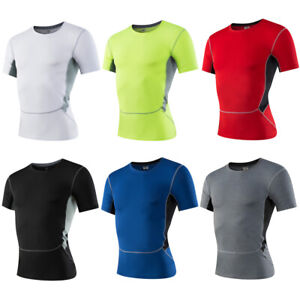 Men's Elastic Athletic Tops Tight Fitness Sport Short Sleeve T-Shirt Quick Dry
