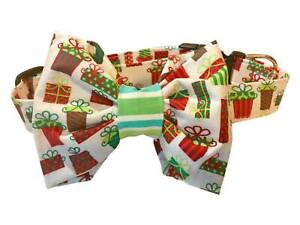 SPIFFY POOCHES Dog Puppy Collar Christmas Presents Bow Tie or Flower Dog Collar