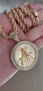 """18K Gold Plated Mason Masonic Pendant 5mm 30"""" Chain Necklace-#2"""
