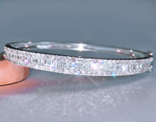 3Ct 100% Natural Diamond 14K White Gold Cluster Bangle EFFECT 6Ct BWG10