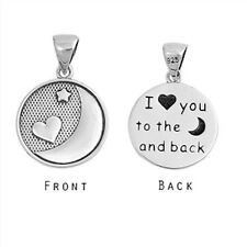 I Love You To The Moon and Back Oxidite .925 Sterling Silver Pendant