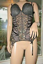 NWT Fredericks of Hollywood corset XL black lace bra garter bustier shapewear