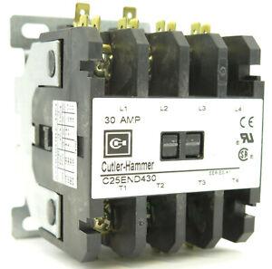 Cutler Hammer C25END430A Definite Purpose Contactor 4P 30A 120V Coil
