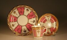 Crown Chelsea  Antique Pink and Gold Cup and Saucer Trio, England c. 1880s