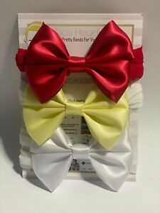 Baby Headbands 3 Bows Set Satin Bow Soft Stocking Red Lemon White Wedding Nylon
