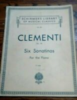 1939 Clementi  Six Sonatinas For Piano  Schirmer's Library Of Musical Classics