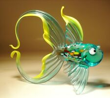 """Blown Glass """"Murano"""" Art Figurine Aqua and Yellow FISH with Arched Tail"""