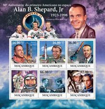 ALAN SHEPARD NASA Astronaut / Apollo 14/JFK Space Stamp Sheet (2011 Mozambique)