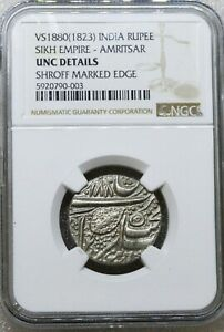 VS 1880 (1823) India Rupee, Sikh Empire - Amritsar, UNC Details, NGC Graded