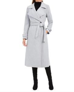 Calvin Klein Women Nickel Wool-Blend Wrap Long Coat Size 8 NWT 460$+TAX
