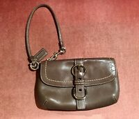 Gorgeous Burnished Brown Leather Genuine Coach Wristlet Purse