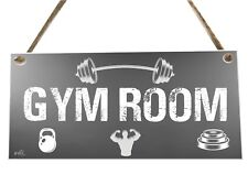 Gym Room Exercise Weights Quote Wooden Novelty Plaque Sign Gift fcp78
