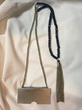 """Long 34"""" Necklace with Extender Chain with Blue Beads Silvertone Tassel New"""