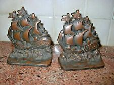 Vintage Copper Flashed Cast Iron Tall Mast Ships Bookends