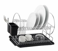Deluxe Chrome-plated Steel 2-Tier Dish Rack with Drainboard / Cutlery Cup (Black