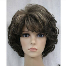 Hot Fashion Cosplay dark Brown gray Mix Short Curly Women Hair Wig