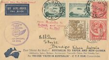 Stamps various on 1934 Faith in Australia boomerang flight cover to Papua