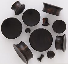 "1 Pair (2) 9/16"" 14mm Black Areng Organic Wood Concave Single Flare Ear Plugs 89"