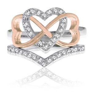 18k Rose Gold Triple Heart Infinity Celtic CZ Wedding Engagement Silver Ring Set