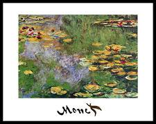 Claude Monet Seerosen Poster Bild Kunstdruck mit Alu Rahmen in schwarz 24x30cm