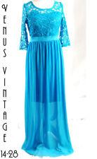 "UK 14 Vintage 1970s Blue Chiffon Maxi Dress Floaty Lace Boho Bust 40"" 102cm"