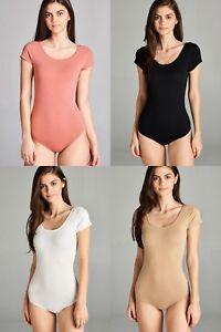 1-3 Women Short Sleeve Bandage Bodysuit Leotard Tops Blouse Jumpsuit Rompers S-L