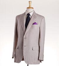 NWT $6400 BRIONI 'Piuma' Beige Lightweight Linen-Wool-Silk Summer Suit 40 R