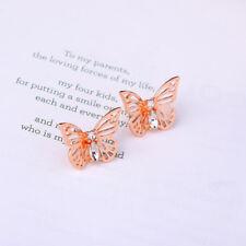 Women Elegant Fashion Earrings Ear Stud Vintage Crystal Pink Butterfly Jewelry