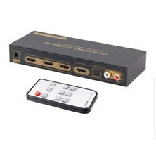 iArkPower 3 Port HDMI Switch with Optical Toslink SPDIF & RCA L/R Audio Out New