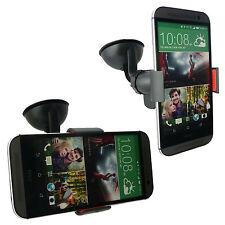 Supporto stand auto macchina ventosa parabrezza vetro pinze per HTC ONE M8 Nero