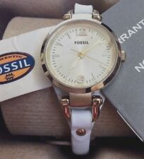 Fossil Women's Watch ES3266 Round Gold Dial White Genuine Leather Strap Band New