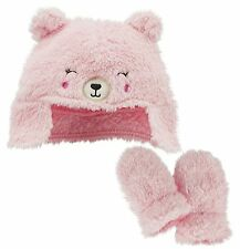 Carter's just one you baby girl cute sherpa Pink bear hat and mitten 2pc set