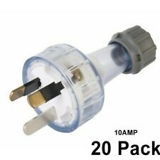 20 x 10 Amp 3 Pin Male  Extension Plug Lead Clear 240v
