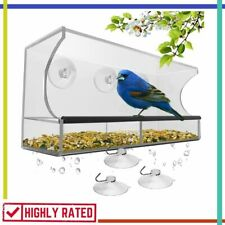 Window Bird Feeder Strong Suction Cups Drainage Holes Seed Tray Nature'S Hangout