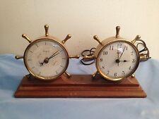 Vintage Swift Anderson Humidity Temperature Barometer Brass Ships Wheel Desk Set