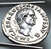 VESPASIAN SILVER DENARIUS RARE ROMAN COIN = UNC