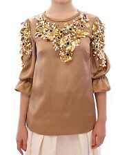 NEW $13000 DOLCE & GABBANA Blouse Gold SPECIAL Piece Runway Crystal IT40 / US6/S