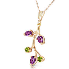 14k Solid Gold Leaves Fusion Amethyst Peridot Necklace