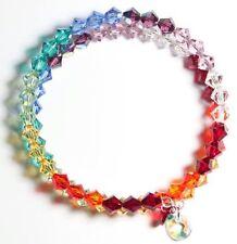 NEU Armreif mit Swarovski® Kristallen Chakren Regenbogen Armband Schmuck