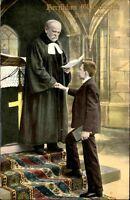 Glückwunsch Gratulation KONFIRMATION ~1910 Religion Kirche Pfarrer und Junge