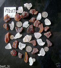 34 pieces, 8 oz, white & brown, unique Bonfire, fire fused ocean beach glass QQ