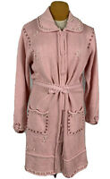 Storybook Knits Valentine Pink I Love Pearls Long Cardigan Sweater HSN Exclusive